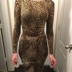 Cache LS Size XS Leopard Print Sweater Dress